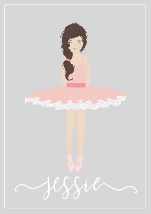 personalised ballerina print for girls