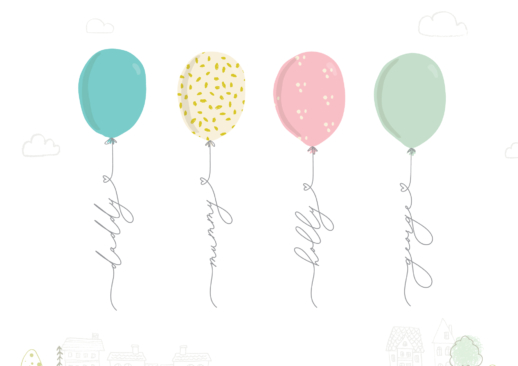 personalised family gift - print with balloons