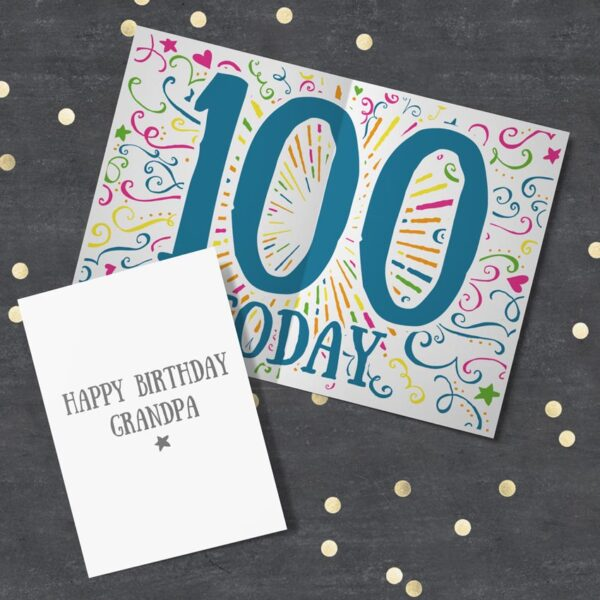 Colourful personalised 100th Birthday Card