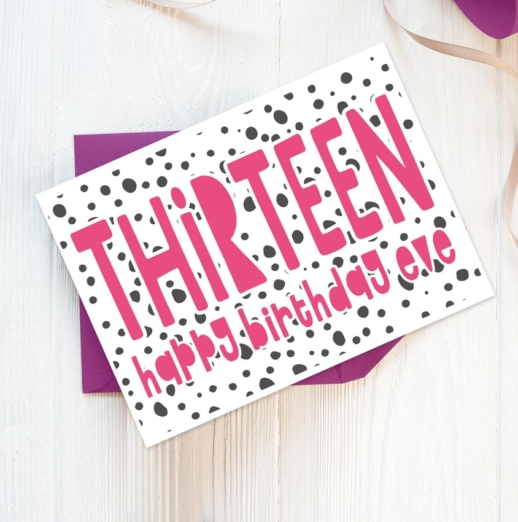 personalised 13th birthday card for girls