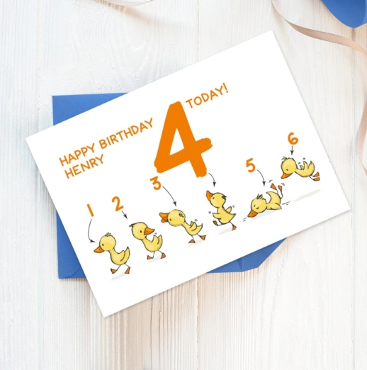 personalised 4th birthday card with ducks
