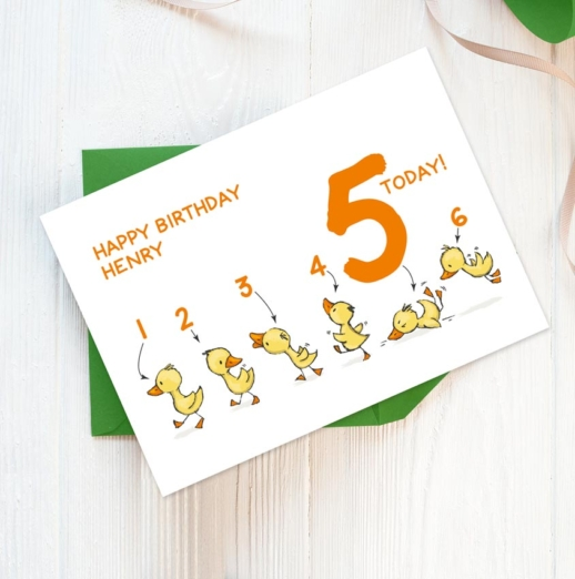 personalised 5th birthday card with ducks