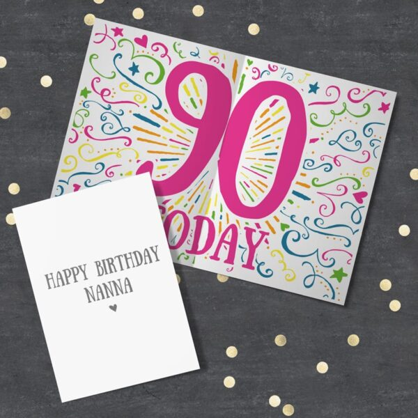 Colourful personalised 90th Birthday Card