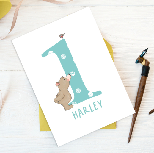 personalised 1st Birthday card or wall print with Bear and Bird