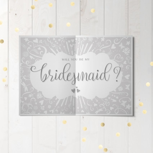 will you be my bridesmaid wedding party proposal card