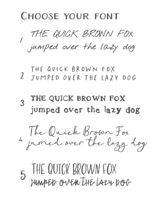 choose your font for your personalised stationery