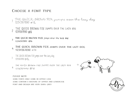 personalise your writing set - choose fonts