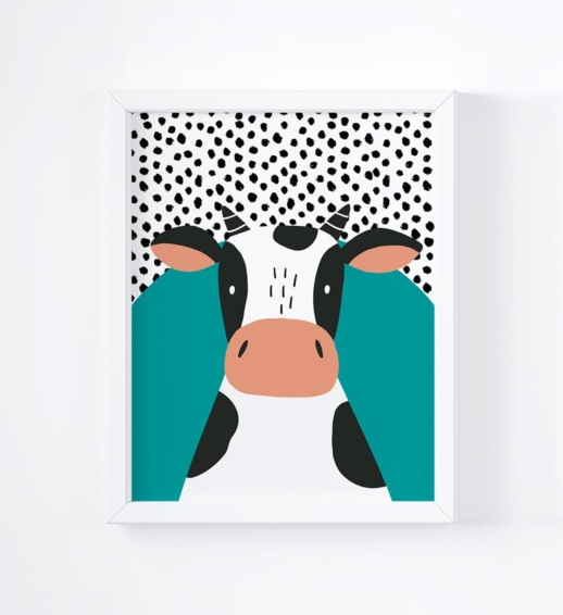 cow brightly coloured childrens print