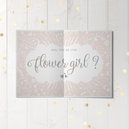will you be our flower girl wedding party proposal card