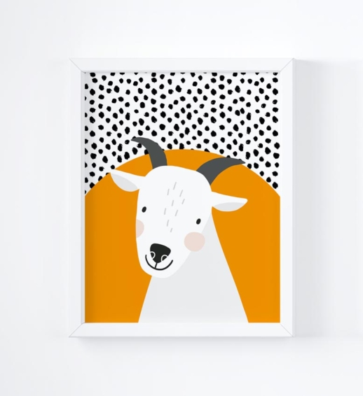 goat brightly coloured childrens print