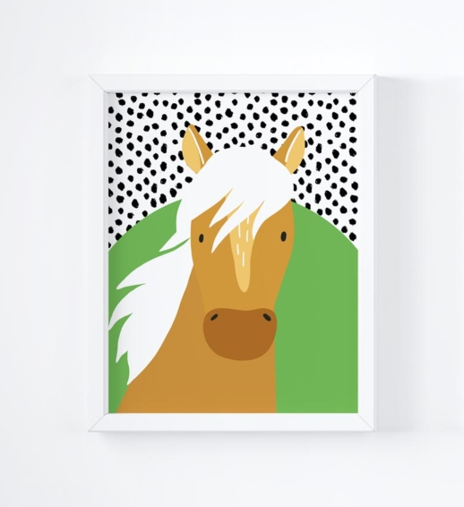 horse brightly coloured childrens print