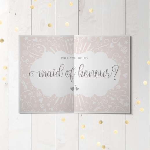 will you be my maid of honour wedding party proposal card