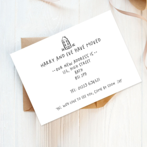 printed change of address cards, personalised change of address cards, new address announcements
