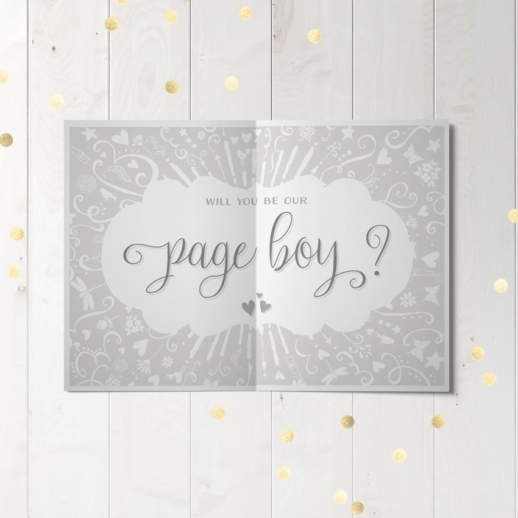 will you be our page boy wedding party proposal card