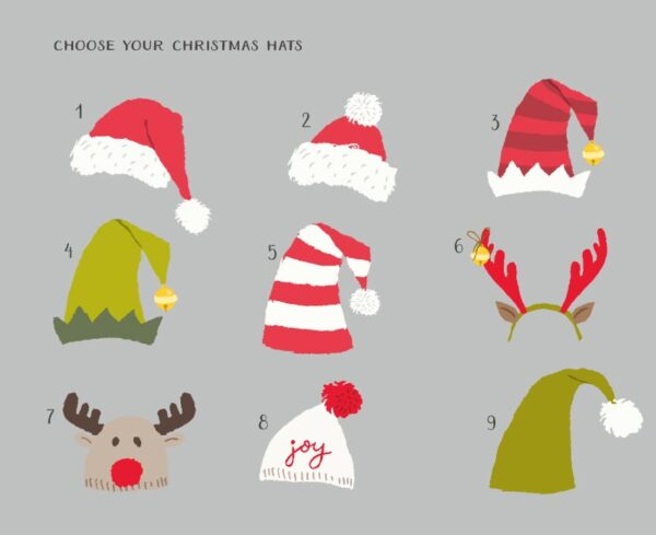 Christmas Hats personalised Christmas cards choose your hat