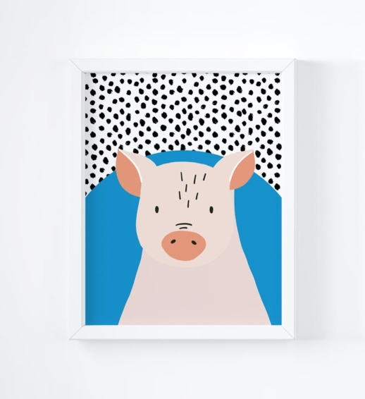 pig brightly coloured childrens print