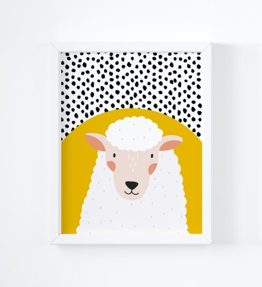 sheep brightly coloured childrens print