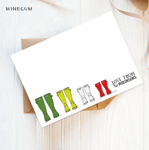wellington boots personalised stationery postcards
