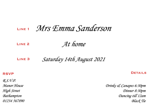 printed personalised at home invitations