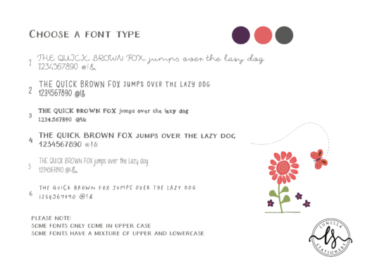 font choice for your personalised stationery