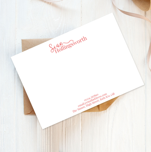 stylish recycled and eco-friendly personalised note cards with envelopes