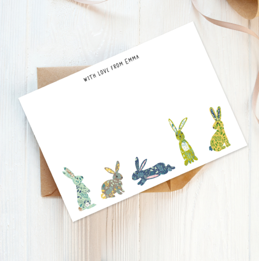 woodland bunnies recycled and eco-friendly personalised note cards with envelopes