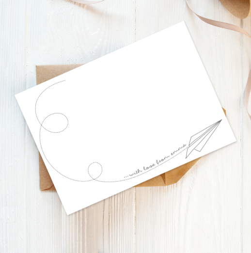 origami paper plane recycled and eco-friendly personalised note cards with envelopes