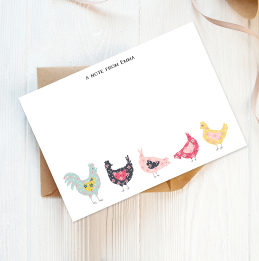pretty chickens recycled and eco-friendly personalised note cards with envelopes