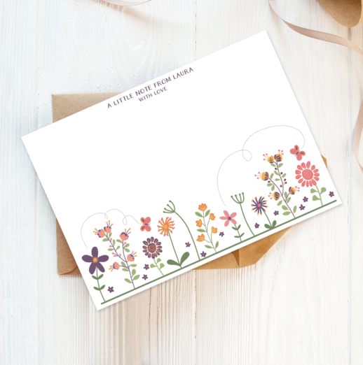 summer florals recycled and eco-friendly personalised note cards with envelopes