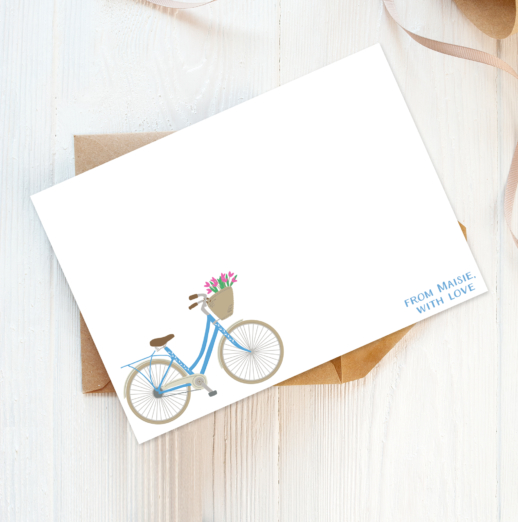 vintage bicycle recycled and eco-friendly personalised note cards with envelopes