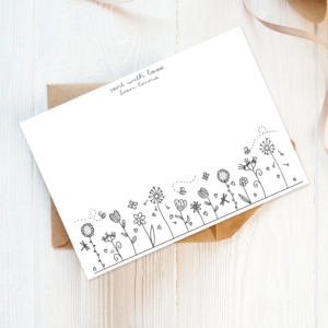 doodled florals recycled and eco-friendly personalised note cards with envelopes