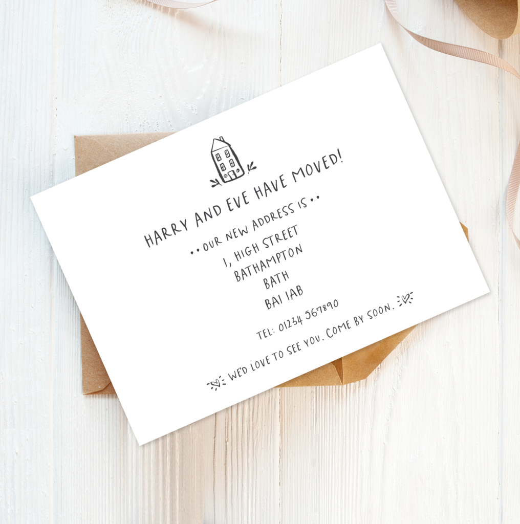 personalised printed change of address announcement cards