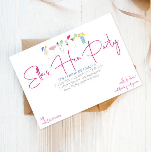personalised printed cocktail party invitations