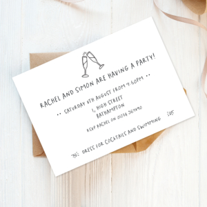 eco friendly drinks or dinner party invitations