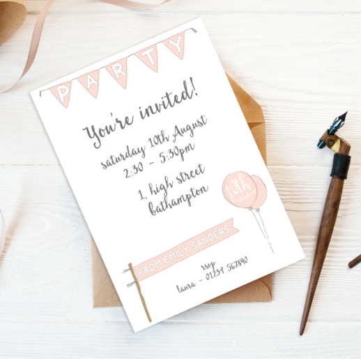 eco-friendly personalised prited party invites for children