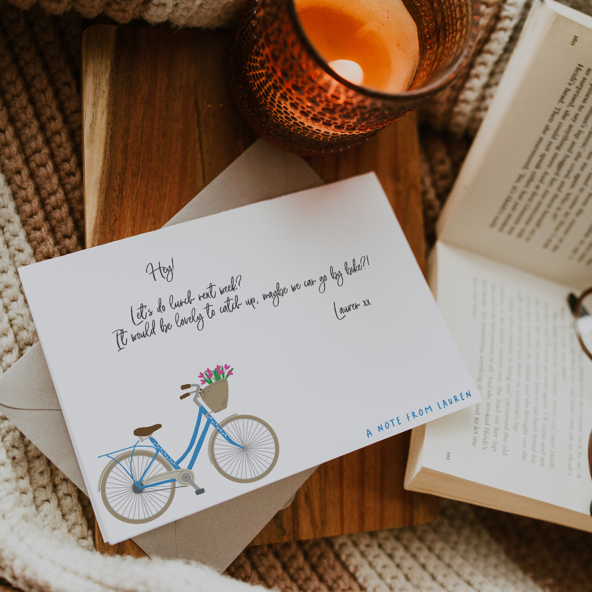 personalised stationery with bicycle