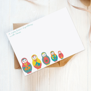eco-friendly note cards with russian dolls
